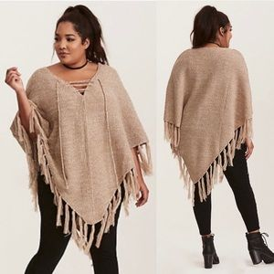 Torrid Marled Knit Lace Up Poncho Sweater Birch
